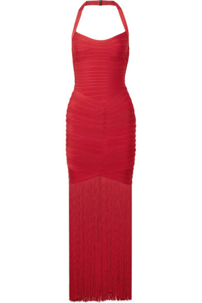 herve leger gown bandage red dress
