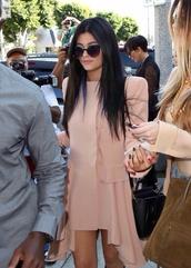 sunglasses,black,pointed toe,kylie jenner,dress,pink dress