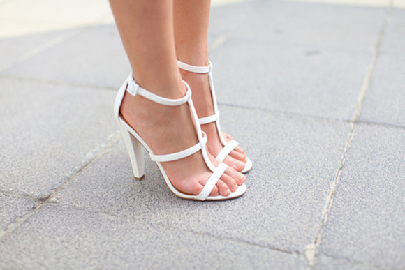 white shoes high heels