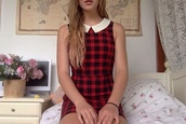 dress,red and black plaid,scottish,peter pan collar,collar,preppy