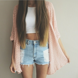 cardigan pink jacket white top crop tops denim shorts summer outfits shorts damaged ripped blue pink blouse top
