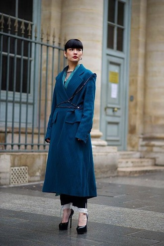 coat blue coat long coat shoes pumps pl high heel pumps