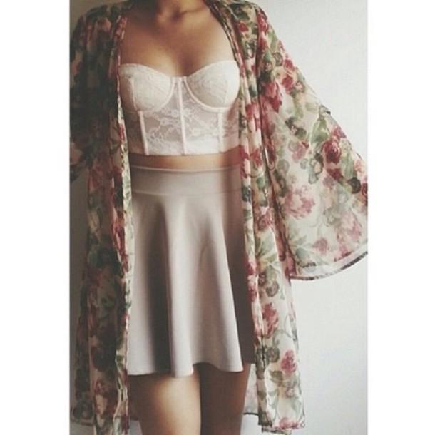 cardigan skirt top