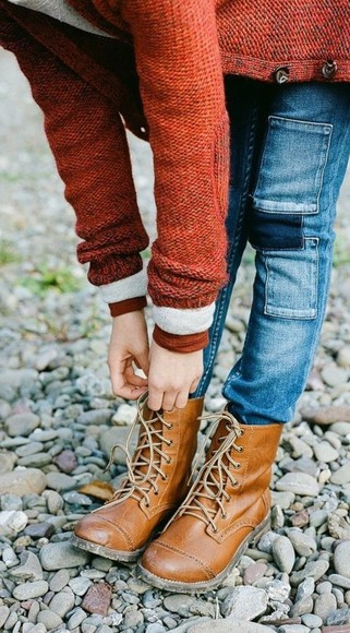 sweater elbow patch jeans pants patches hiking boots shoes