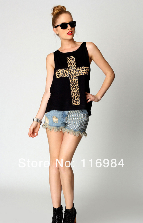 Free shipping!! Womens Sexy Leopard Cross Two Piece Vest Tee Tops Clubwear T Shirts-in T-Shirts from Apparel & Accessories on Aliexpress.com
