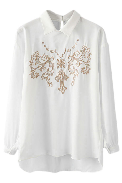 ROMWE | ROMWE Asymmetric Floral & Cross Embroidered White Blouse, The Latest Street Fashion