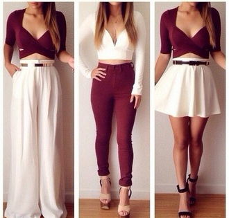 top burgundy strappy style cute pants skirt