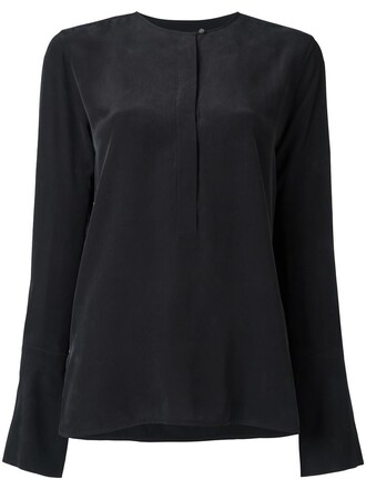 shirt women black silk top