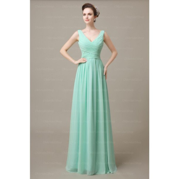 dress mint off the shoulder bridesmaid long