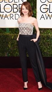jumpsuit,emma stone,Golden Globes 2015,lanvin,shoes