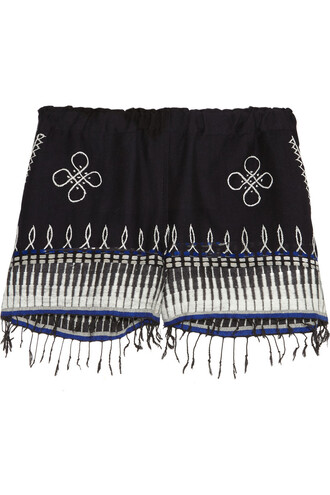 shorts embroidered cotton blue