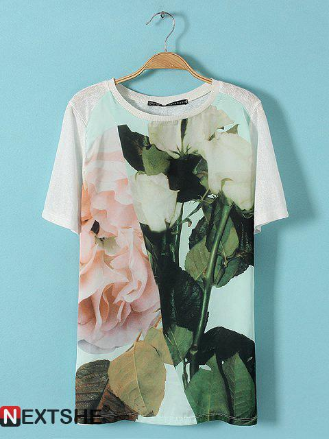 White floral print round neck short sleeve t