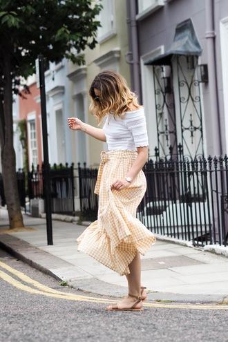 skirt midi skirt gingham gingham skirt ruffle skirt off the shoulder off the shoulder top sandals flat sandals blogger blogger style
