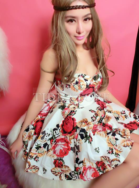 Sexy Floral Slim Strapless Bubble Dress: tidestore.com