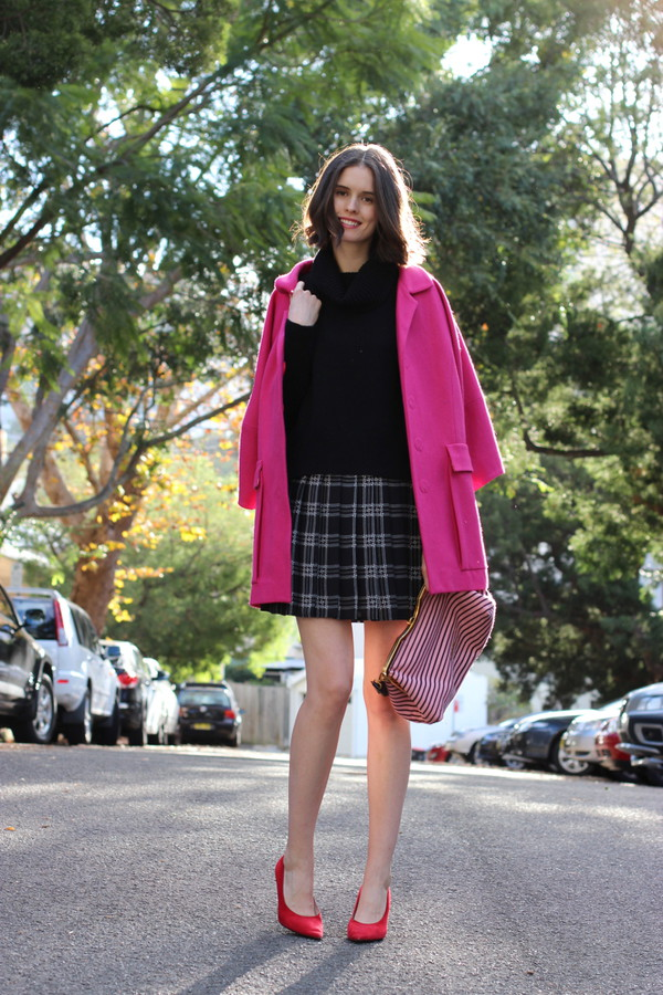 by chill coat sweater bag skirt shoes