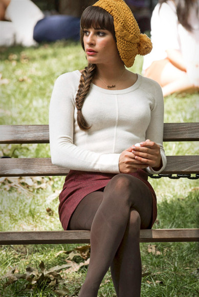glee lea michele hat beanie fishtail braid skirt white sleeve shirt fall outfits yellow sheer stockings burgundy rachel berry