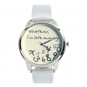 White on White - 'Whatever, I'm late anyway' watch | ZIZ iz TIME