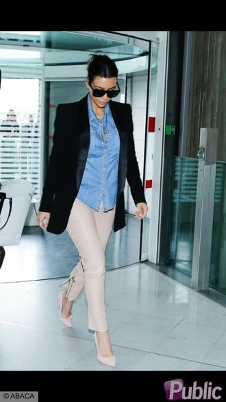 jeans black jacket shoes kim kardashian blazer