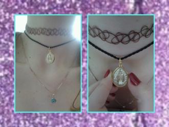 jewels choker necklace buddha eye tattoo choker 90s style grunge harajuku