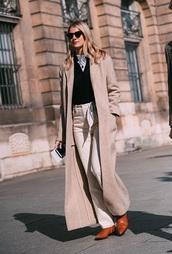 coat,nude coat,long coat,pants,white pants,top,boots,brown boots,black top