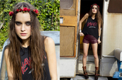 shoes,nastygal,nasty gal april lookbook,nasty gal lookbookm,music festival,flower crown,flower headband,flower headpiece,headband,leather shorts,black t-shirt,slayer tee,t-shirt,shorts,jewels,festival