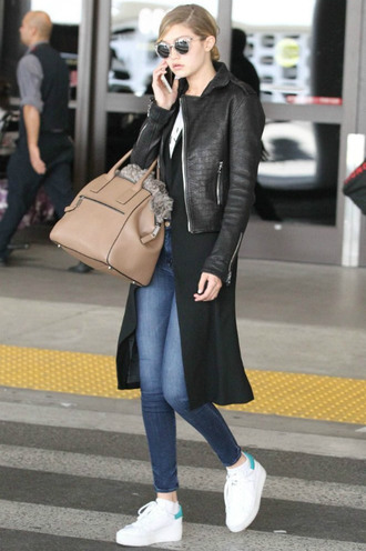 shoes sneakers gigi hadid jacket biker jacket