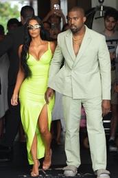 dress,kim kardashian,neon,sandals,slit dress,bustier dress,kardashians