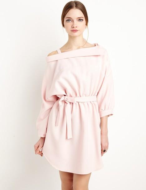Dress Pale Pink Off The Shoulder Shirt Dress Shirt Dress Pale Pink Dress Cute Dress Off The