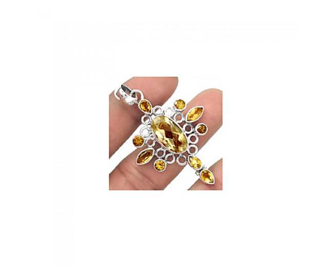 Handmade 925 sterling silver Faceted Golden Rutile Pendant
