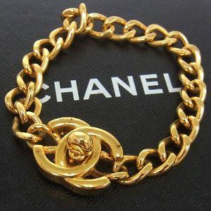 Auth chanel vintage cc logos gold chain bracelet 96p france accessories e06223