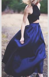maxi skirt,black top,blue skirt,maxi dress,crop tops,halter top,dress,prom dress,two-piece,long prom dress,long dress,sexy dress