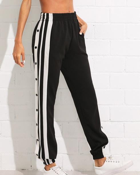 pants girly black joggers track pants snap joggers pants