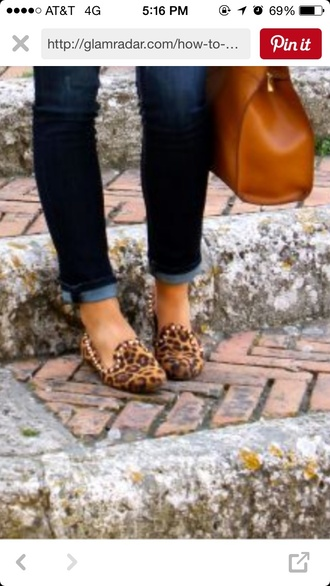 shoes leopard print flats studded