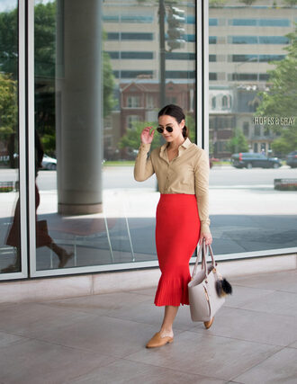skirt sunglasses tumblr knitted skirt red skirt midi skirt shirt nude shirt shoes mules bag grey bag