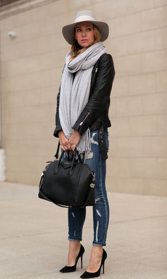 brooklyn blonde blogger jacket jeans bag fedora ripped jeans leather bag scarf