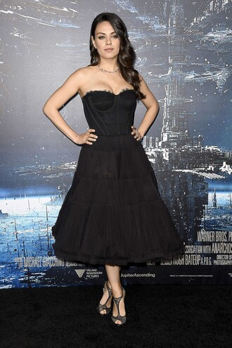 dress bustier dress gown prom dress mila kunis sandals shoes
