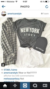 t-shirt,clothes,outfit,fancy,perfect,cardigan,grey,new york city,plad shirt,beanie,blouse,shirt,skirt