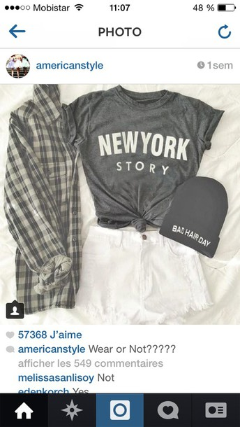 t-shirt clothes outfit fancy perfect cardigan grey new york city plad shirt beanie blouse shirt skirt