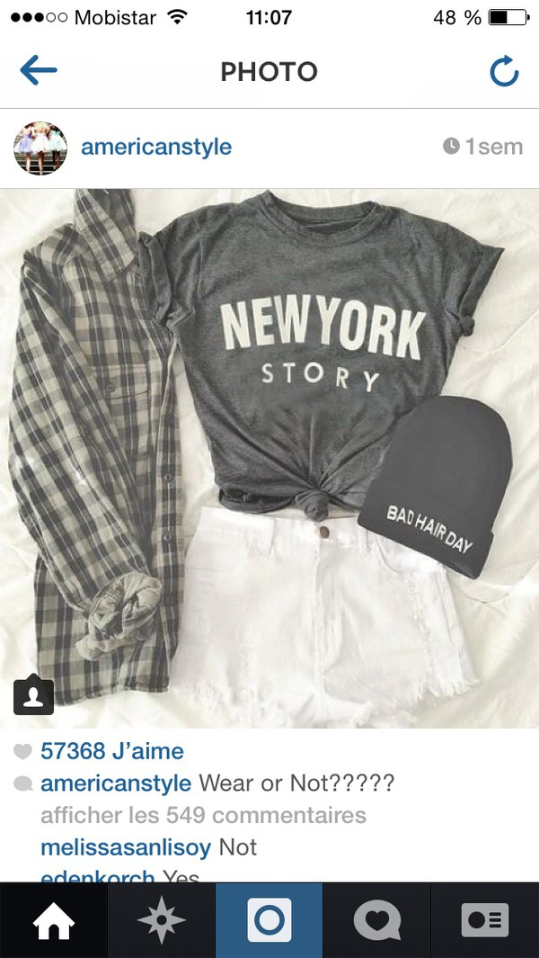 t-shirt grey new york city plad shirt beanie