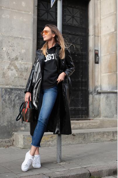 coat tumblr black coat leather coat denim jeans blue jeans sneakers white sneakers low top sneakers hoodie bag sunglasses