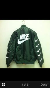 olive green,nike jacket,jacket,green jacket,black jacket,coat,nike,green,nike bomber jacket