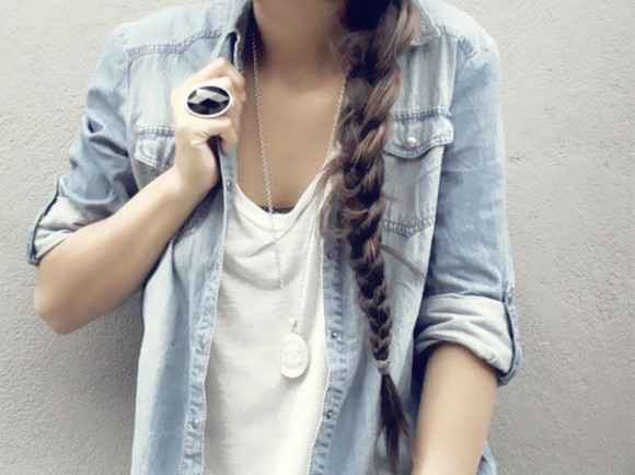 blouse braid jacket jeans denim shirt ring necklace