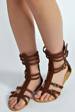 Ellen Toe Post Over Ankle Cage Gladiator at boohoo.com