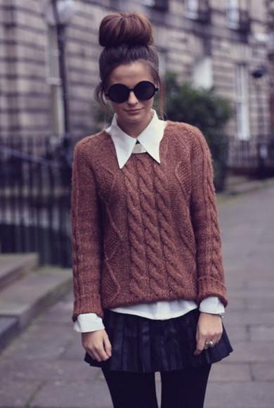 sweater cute winter sweater shirt winter outfits brown white white shirt skirt black black skirt sunglasses black sunglasses