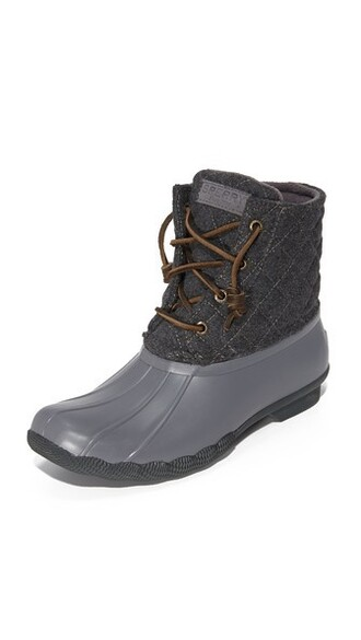 quilted light booties wool grey shoes