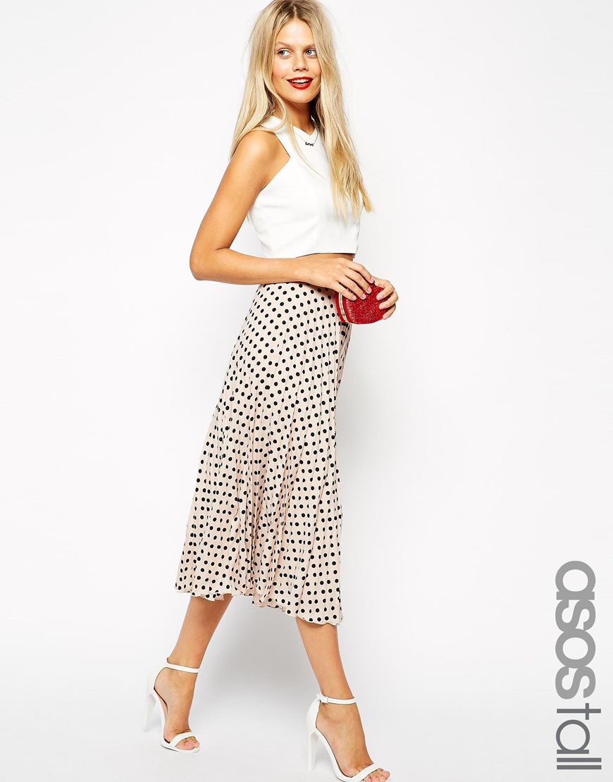 574b1df85a1466 ASOS TALL Exclusive Spot Print Pleated Midi Skirt at asos.com