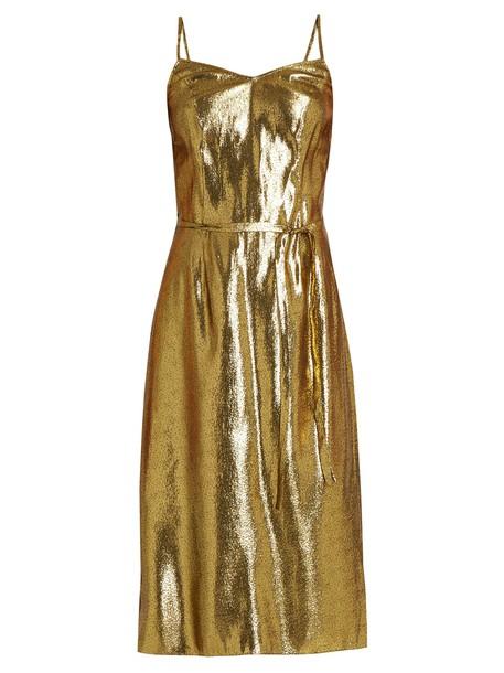 dress slip dress sleeveless gold