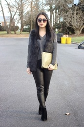 looks by lau,blogger,faux fur vest,charcoal,pouch,stripes,leather pants,jewels,jacket,t-shirt,pants,shoes,bag,black fur vest