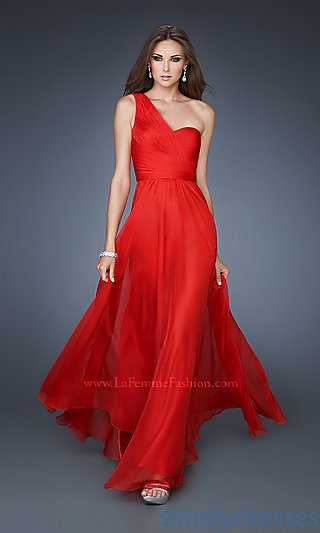 Dress, long chiffon one shoulder gown