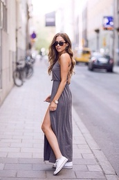 dress,grey beautiful,grey dress,summer dress,casual dress,grey,long dress,maxi,jersey,maxi dress,jersey dress,converse,sunglasses,watch,kenza,shoes,jewels,side split maxi dress,spring dress,white converse,grey maxi dress,gray dresses,grey long dress,long,maxi skirt,slit dress,adjustable straps,summer,asos